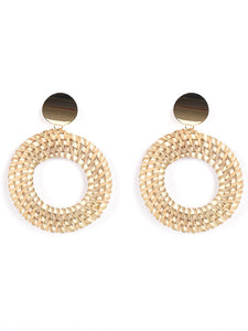 Earrings Beige Wood Golden Circle Women