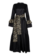 Load image into Gallery viewer, Black Indian Taffeta Caftan with Belt