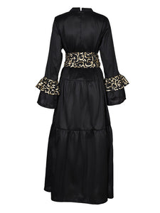 Black Indian Taffeta Caftan with Belt