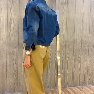 Short Jeans Jacket with Pockets