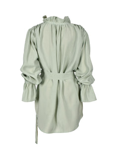 Ruffle Silk Blouse with Belt
