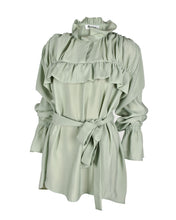 Load image into Gallery viewer, Ruffle Silk Blouse with Belt