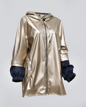 Load image into Gallery viewer, Gold Leather Hoodie Shiny Wool Sleeves