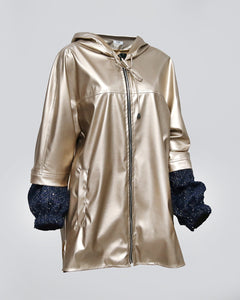 Gold Leather Hoodie Shiny Wool Sleeves