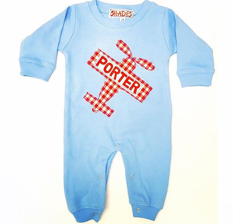 *CLEARANCE* Picnic Plane Romper - long sleeve