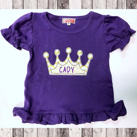 Purple Princess Crown Ruffle Tee