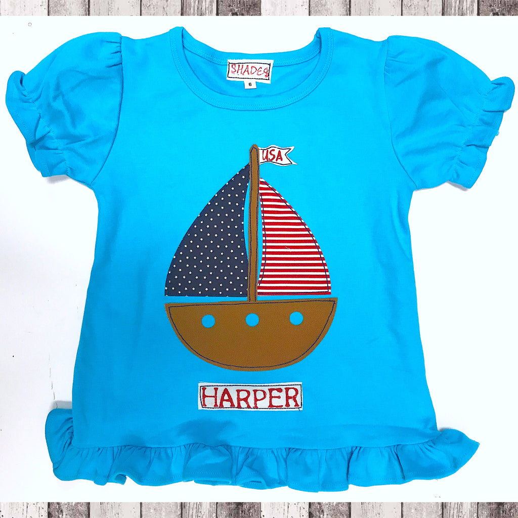 Patriotic Sailboat Ruffle Tee