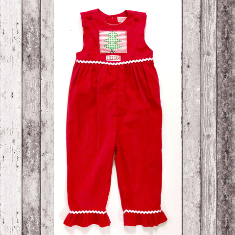 Christmas Tree Ruffle Romper