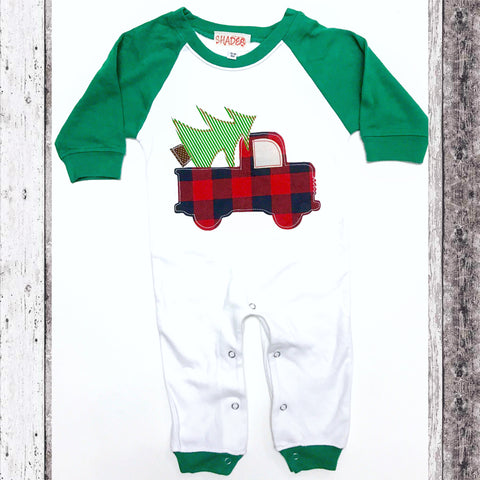*Limited Time* Raglan Christmas Truck Romper