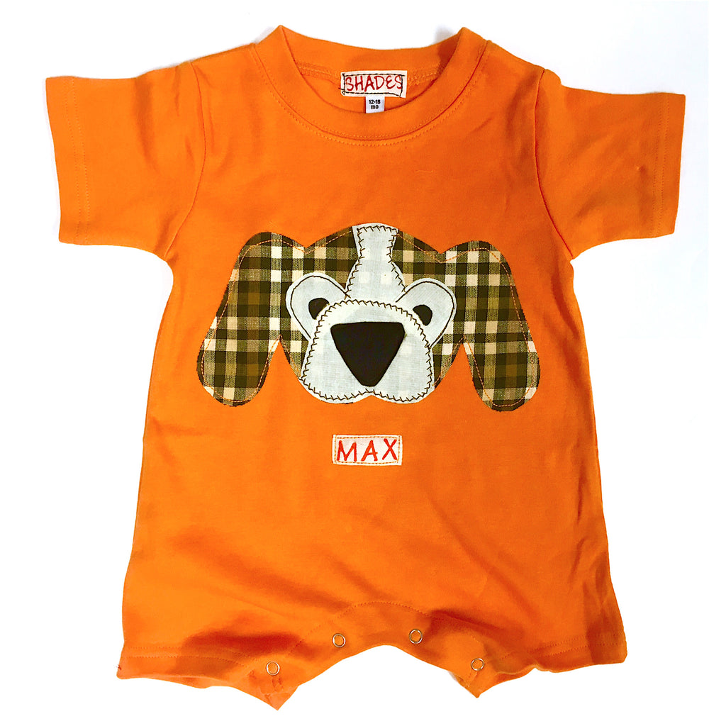 Orange Hound Dog Romper