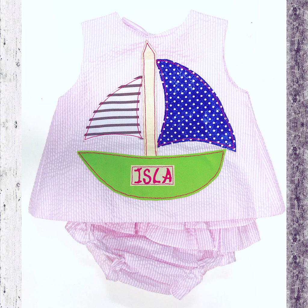 Sailboat Seersucker Ruffle Set