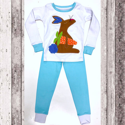 Easter Bunny Pajamas Set (Blue)