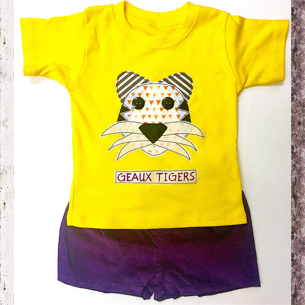 Purple and Gold Tiger Tee