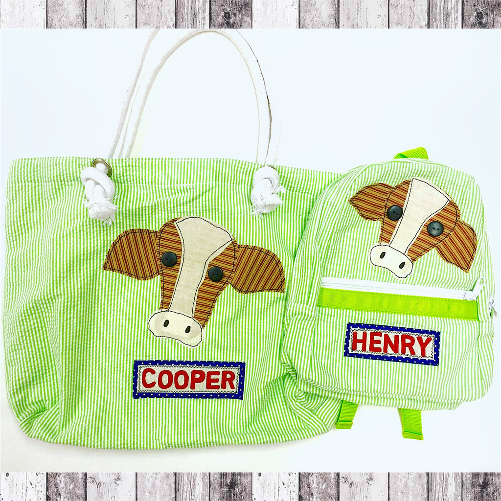 Cow Luggage Collection - Green