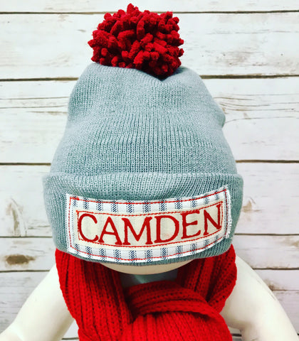 ***Limited**Personalized Winter Hat (grey/ticking)