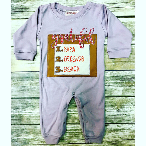 *LIMITED* Personalized Grateful Romper (Purple)