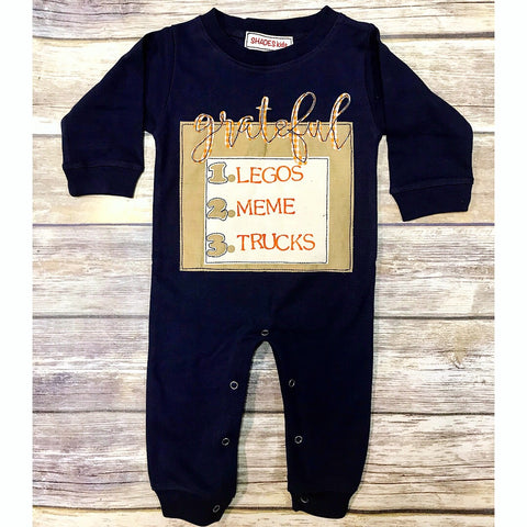 *LIMITED* Personalized Grateful Romper (Navy)