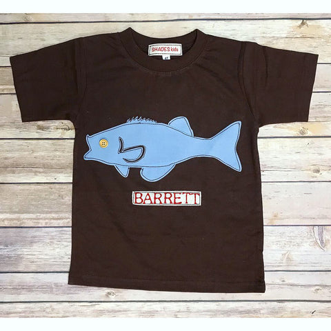 Chocolate/Blue Fish Tee