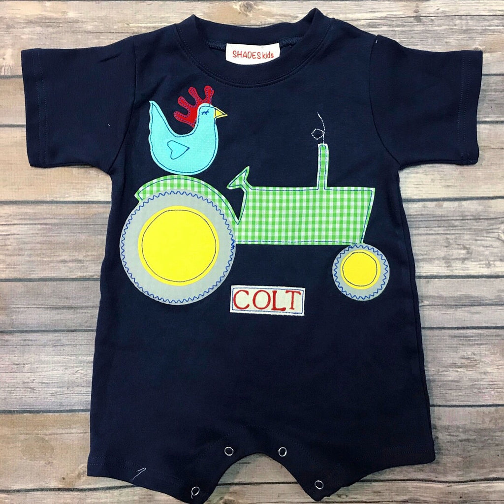 Tractor with Rooster Romper