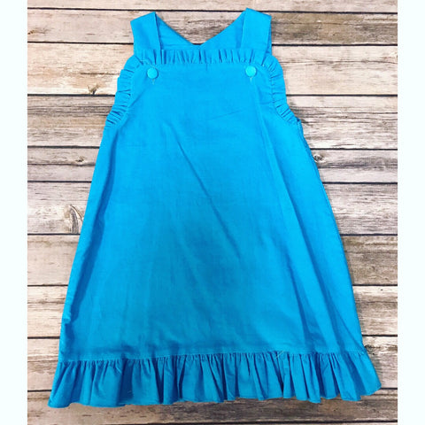 Blue Corduroy Ruffle Dress