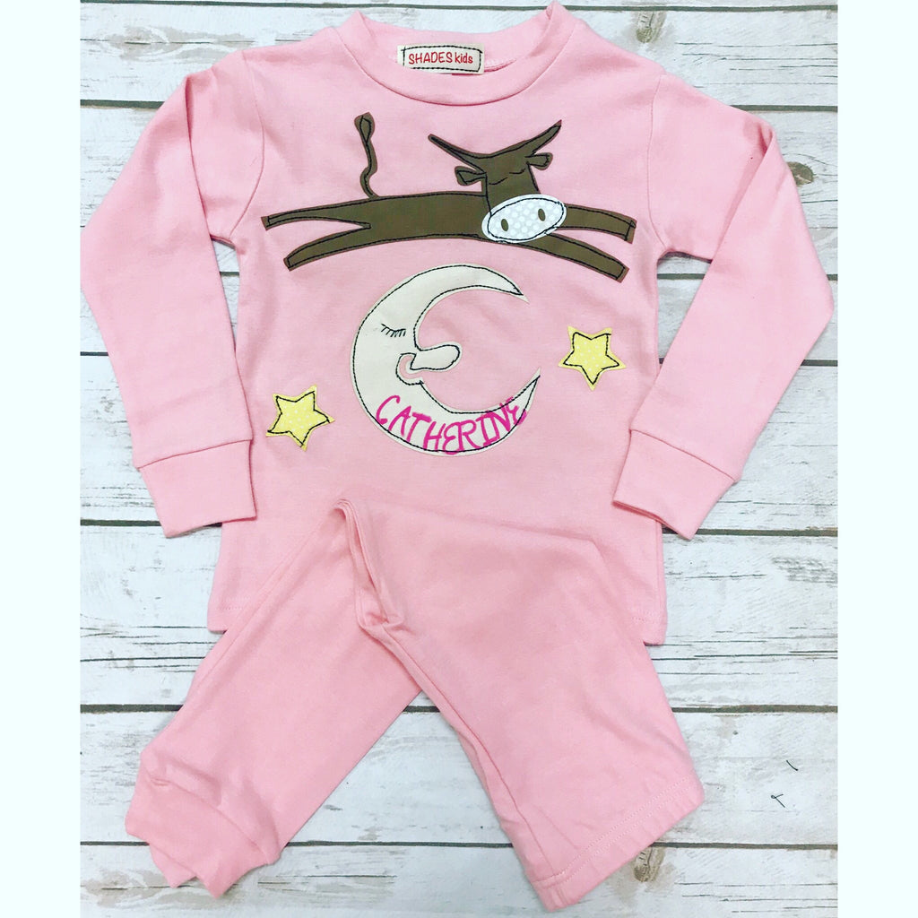 Cow Jumping Over the Moon Pajamas Set (PINK)