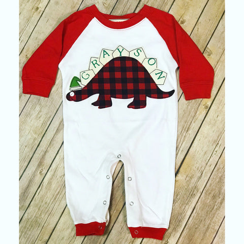 Holiday Stegosaurus Romper