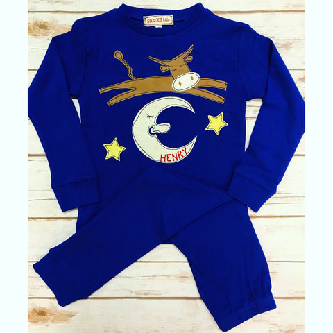 Cow Jumping Over the Moon Pajamas Set (BLUE)
