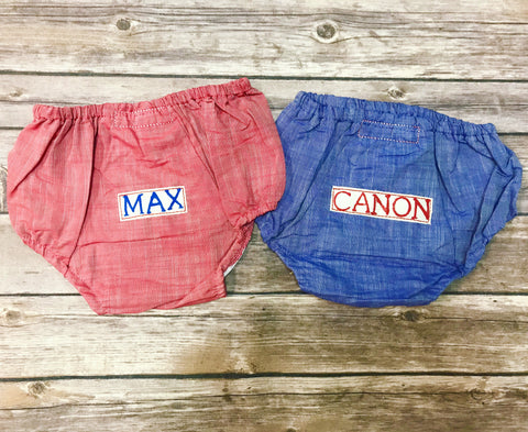 Personalized Chambray Diaper Covers