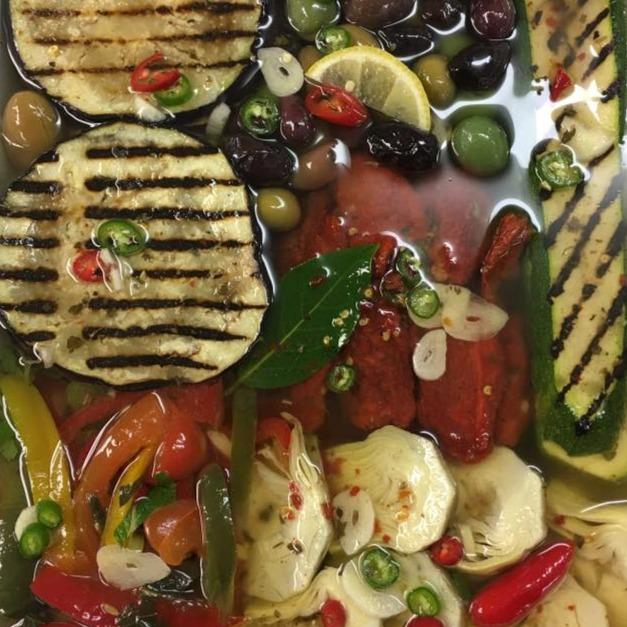 Tray with mixed  antipasto vegetables in oil