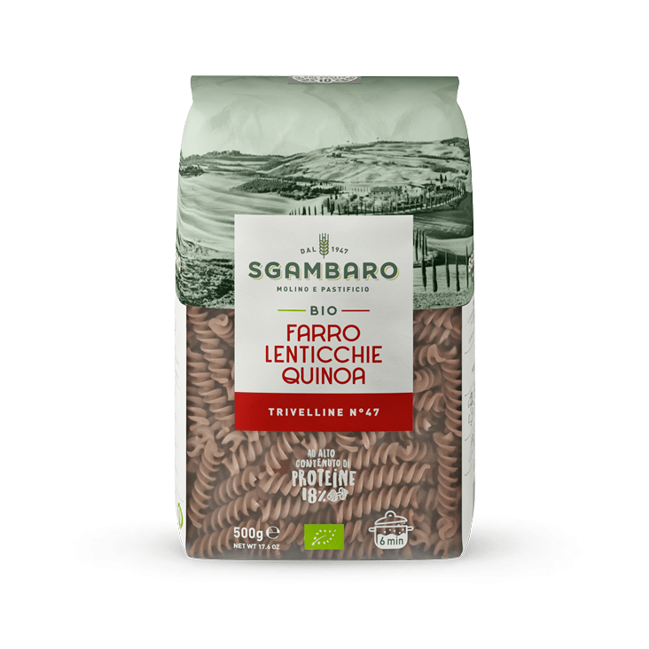 One pack of Fusilli Emmer (Spelt), Lentils and Quinoa Sgambaro