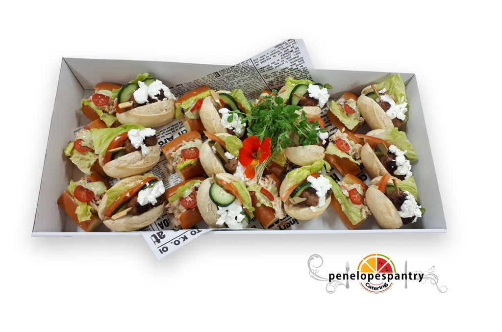 Greek Kofta Rolls and Pesto Chicken Sub Platter