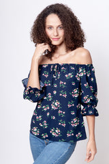 Blusa off shoulders flores