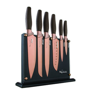 New England Cutlery NE8807 7 Piece Titanium-Coated Knife Set with Invisible Wood Block, Bronze