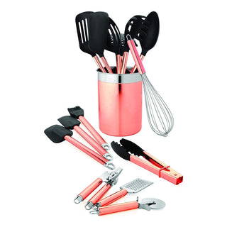 Old Dutch 1512 15 Pc. Copper Set Kitchen Tools & Caddy, Rose Gold, Black, Stainless Steel