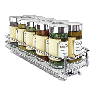"Lynk Professional 430421DS Slide Out Spice Rack Cabinet Organizer, 4"" Wide, Chrome"
