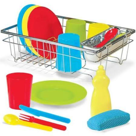 Melissa & Doug 23 Piece Let's Play House! Wash and Dry Dish set