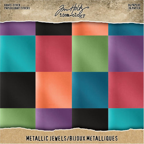 Tim Holtz Metallic Kraft Cardstock - 8 x 8 (Jewels)