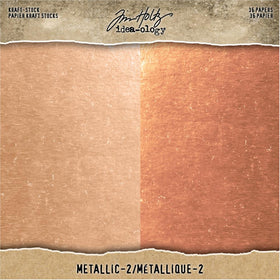 Tim Holtz Metallic Kraft Cardstock - 8 x 8 (Rose Gold & Copper)