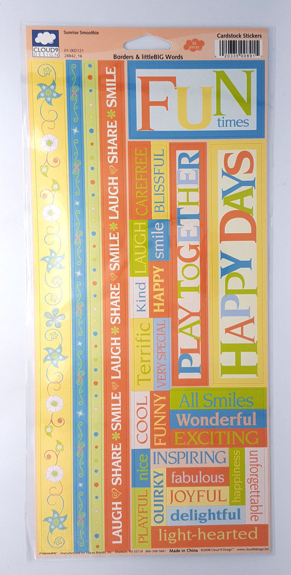 Cloud 9 Sunrise Smoothie Borders & Craft; littleBIG Words Cardstock Stickers