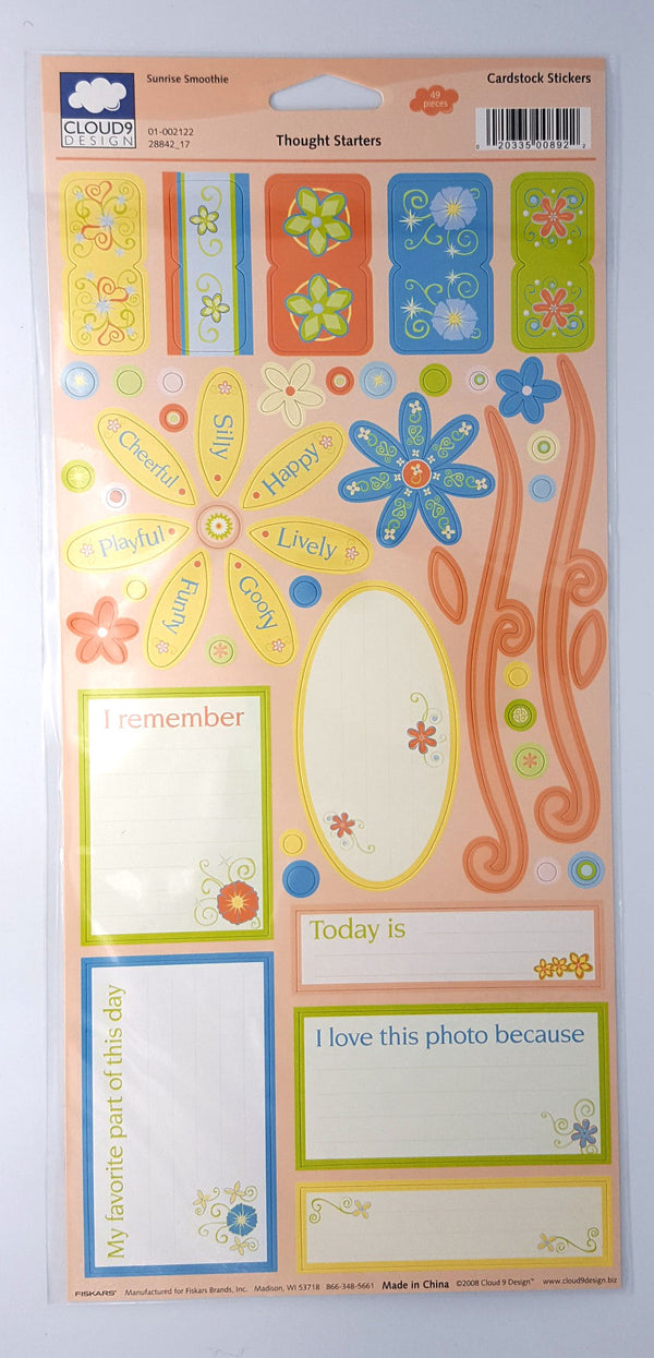 Cloud 9 Sunrise Smoothie Thought Starters Cardstock Stickers