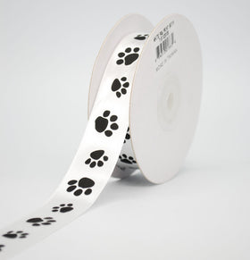 White Paw Print Satin Ribbon 7/8