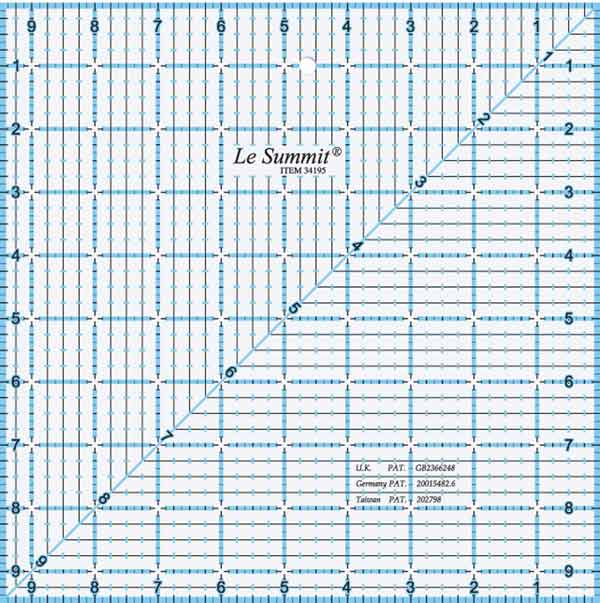 "Le Summit Quilting Ruler - 9.5"" x 9.5"""