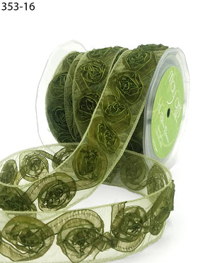 May Arts Sheer Woven Rosette Ribbon - Olive