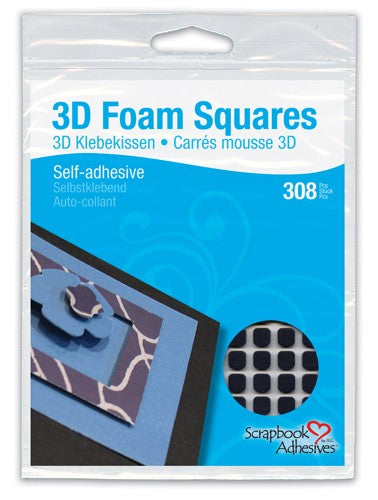 Double Sided 3-D Square Foam Pads - Black