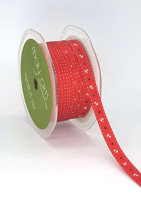 May Arts 3/8 Inch Grosgrain Nautical Print Ribbon - Red