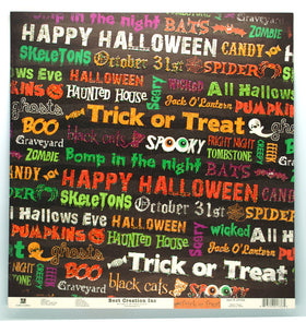 Best Creations Glitter Varnish Halloween Paper - Glittered Words