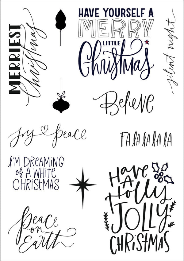 Funky Fossil - Festive Phrases A5 Stamp Set