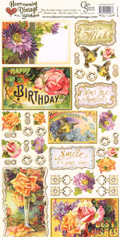 Heartwarming Vintage Stickers - Greetings & Sentiments