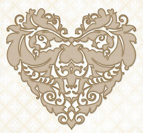 Blue Fern Studios Ornate Heart Chipboard