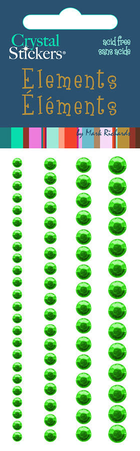 Rhinestones Stickers Round 3,4,5,6mm Green